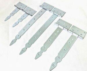 Pair (2pc) Thé Hinges Silver Decorative Strap T Door Gate Nfixup Zinc Galvanized-afficher Le Titre D'origine Moins Cher