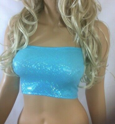 Blue Metallic Holo Foil Boob Tube Top Lycra Strapless Bandeau Party Womens A67