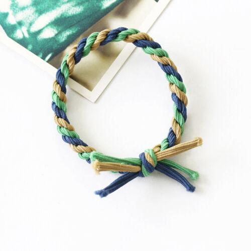 2X Women Braided Elastic Rubber Hair Tie Band Rope Boho Ponytail Holder Bracelet
