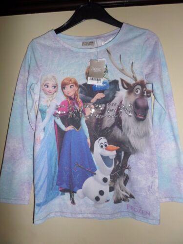 BNWT NEXT Official Disney Frozen Girls Long Sleeved Sequinned T-Shirt//Top