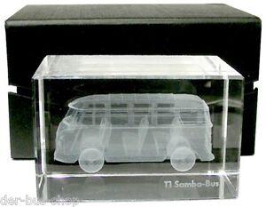 VW-Bus-T1-Samba-Briefbeschwerer-Glasblock-im-Laser-Innengravur