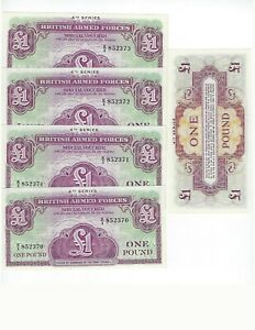UNC P-M36 GREAT BRITAIN ARMED FORCES 1 POUND 1962 20 PCS LOT