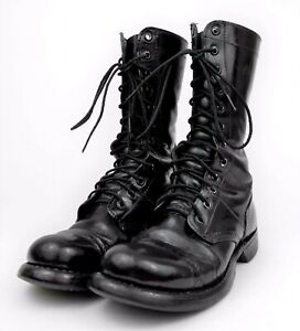 Vtg 1970s US MILITARY ARMY Women's 6.5 - Black Leather Combat CAP TOE Work Boots