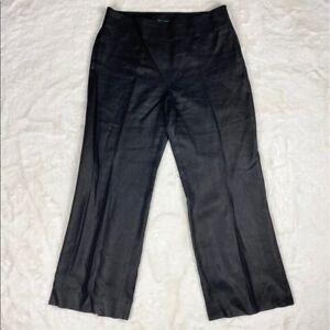 Lauren-Ralph-Lauren-Womens-Pants-Size-16-Black-Wide-Leg-Linen-Side-Zip-High-Rise