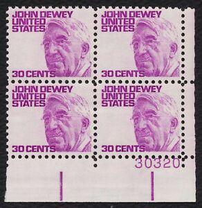 #1291a 30c John Dewey , Placa Bloque [30320 LR ], Nuevo Cualquier 4=