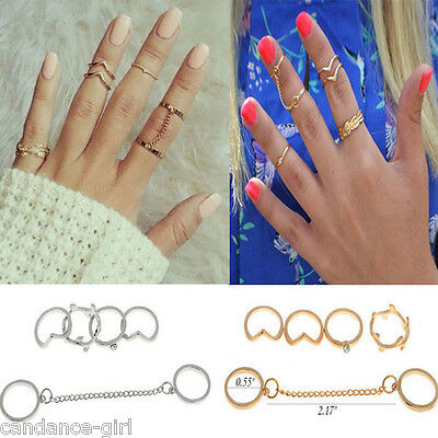 Women Ladies Delicate 6Pcs A Set Mini Golden/Silver Alloy Round Knuckle Rings