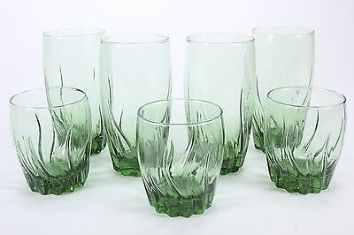 Anchor Hocking Starfire Pattern Green 4 Iced Tea Tumblers 3 Dbl Old Fashioneds