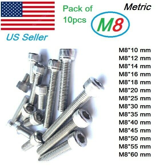 M8 X 25  Hex Head Set Screws Fully Thread Bolts A2 stainless DIN 933-20 pack