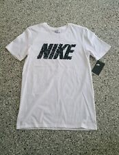 New Nike Mens Graphic Athletic Cut White Cotton T Shirt Tee Top Size: Small