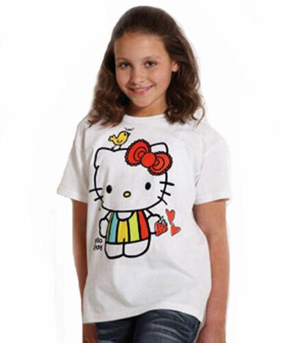Filles T-Shirts Hello Kitty Haut Blanc à Manches Courtes Âge 7-12 nouvelles