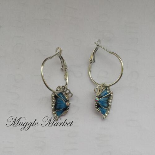 Small Silver enamal butterfly earrings hook drop//dangle