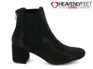 Ladies-Chelsea-Ankle-Boots-Heavenly-Feet-Diamante-Sparkle-Block-Heel-Dress-Shoes