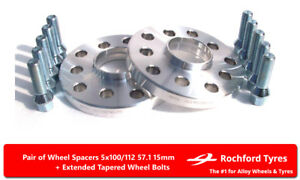 Wheel-Spacers-15mm-2-Spacer-Kit-5x100-57-1-Bolts-For-VW-Bora-99-08