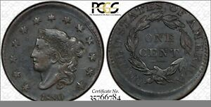 1830-Coronet-Large-Cent-5-Off-Center-Mint-Error-PCGS-Secure-AU-Detail-N-1