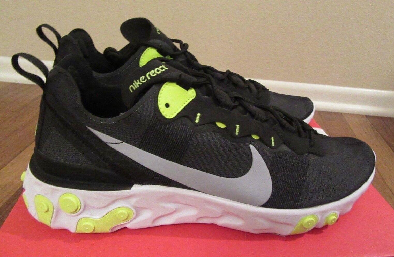online store 4b3b7 395ff Nike React Element 55 Size 11 Black Wolf Grey Volt White Bq6166 001 for  sale online   eBay