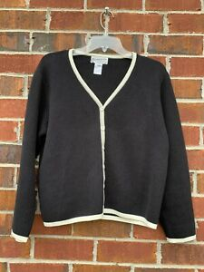 PENDLETON-100-Cotton-CARDIGAN-Black-amp-White-Women-s-Size-Medium-Sweater