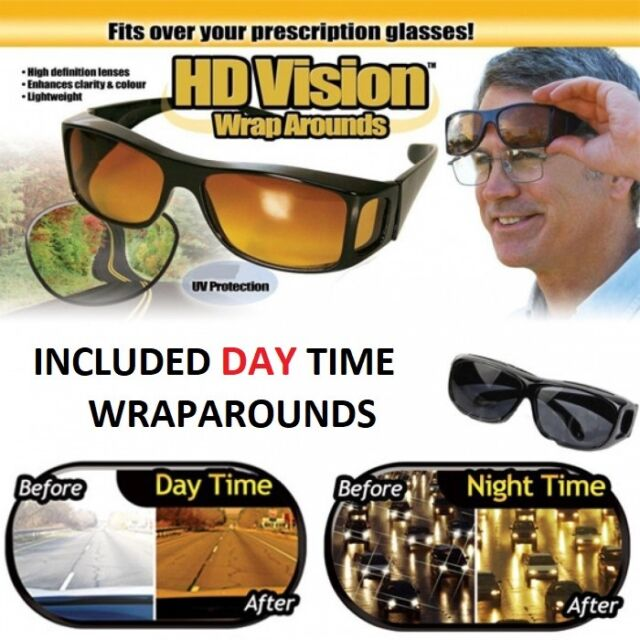 5a5b1c380db4 2 Pair set HD Night Vision Wraparound Sunglasses As Seen on TV Fits OVER  Glasses
