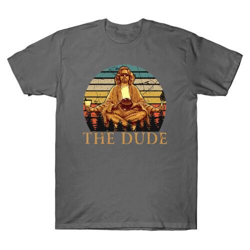 The Big Lebowski The Dude Abides Vintage Men/'s T-Shirt Black Cotton Tee Top