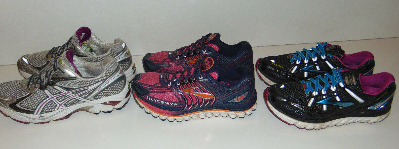 3 Brooks Glycerin 12 TRANSCEND ASICS Pink Athletic Sneakers Running shoes Sz 7.5
