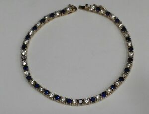 Sterling-silver-925-Gold-plated-Lab-Created-Blue-Sapphire-amp-CZ-Ladies-Bracelet