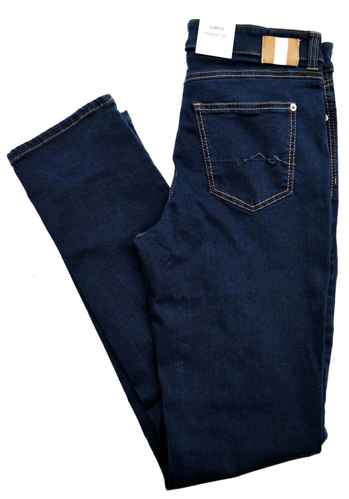 Mac Jeans Angela blå Denis Stretch Dark blå Slim Fit Basic Storlek 36 L34 ny