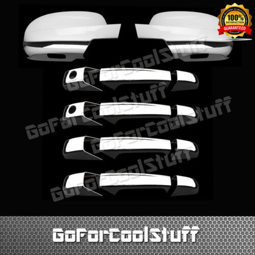 For Gmc Sierra 2007-13 4 Door Handle With Pskh+Full Mirror 2Pc Chrome Covers