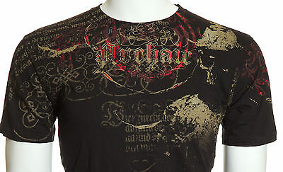 Archaic AFFLICTION Men T-Shirt FOOT SOLDIER Skull Tattoo Biker MMA UFC M-4XL $40