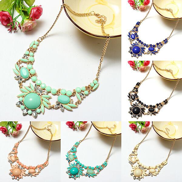 Fashion Crystal Statement Bib Chunky Bubble Choker Pendant Chain Collar Necklace