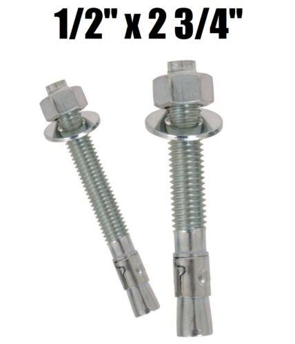 "Qty 100 1//2-13 x 2-3//4/"" Concrete Wedge Anchor Zinc Plated"