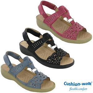 Cushion-Walk-Halterback-Sandals-Wedge-Twin-Strap-Soft-Summer-Cushioned-Comfort