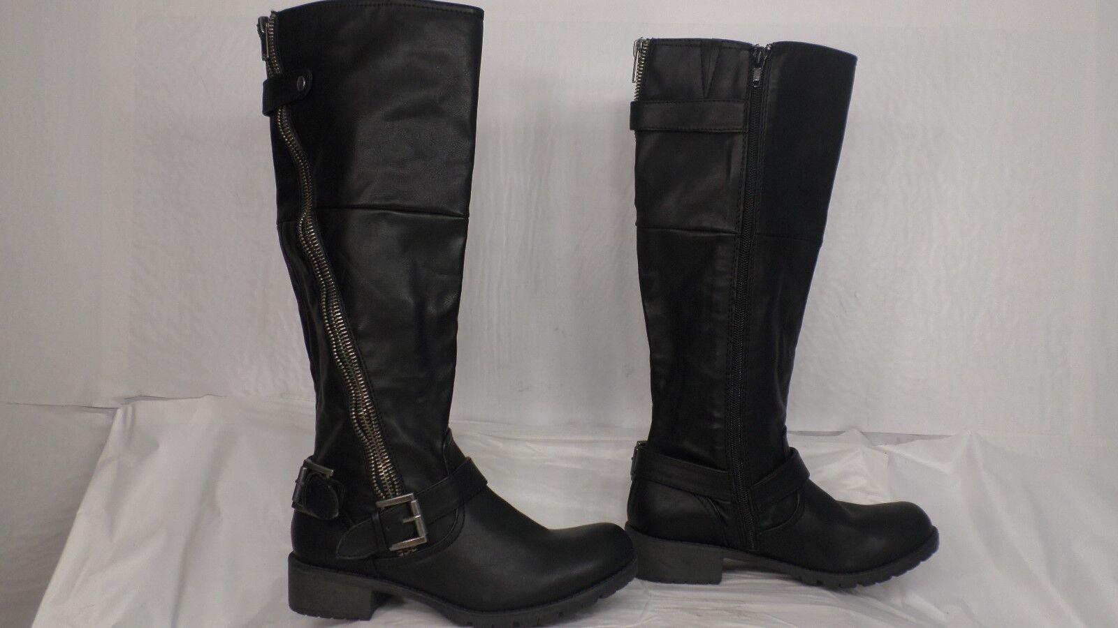 Zigi Soho 'Dakara' Black Faux Leather Knee High Motorcycle Boot Women Size 6 M