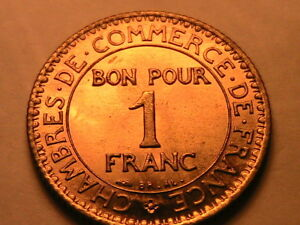 1922-FRANCE-1-Franc-Ch-Gem-BU-Lustrous-One-French-Franc-Chambres-Commerce-Coin