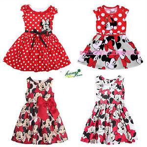 Baby Mädchen Sommerkleid Minnie Mouse Princess Festlich Cartoon Party Kleider