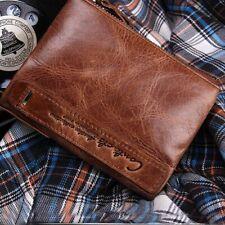 Men/'s Double Zipper Coin Bifold Credit Card ID Window Holder Clutch Wallet Purse