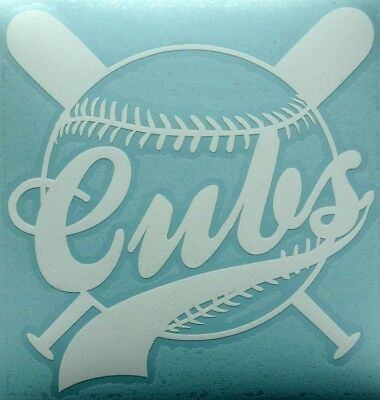 Ca.12,5 X 13cm Mlb Chicago Cubs Weiß Cut Aufkleber Decal Sticker