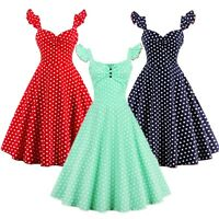 50s Vintage Retro Polka Dot Dress Rockabilly Swing Pinup Evening Party Tea Dress