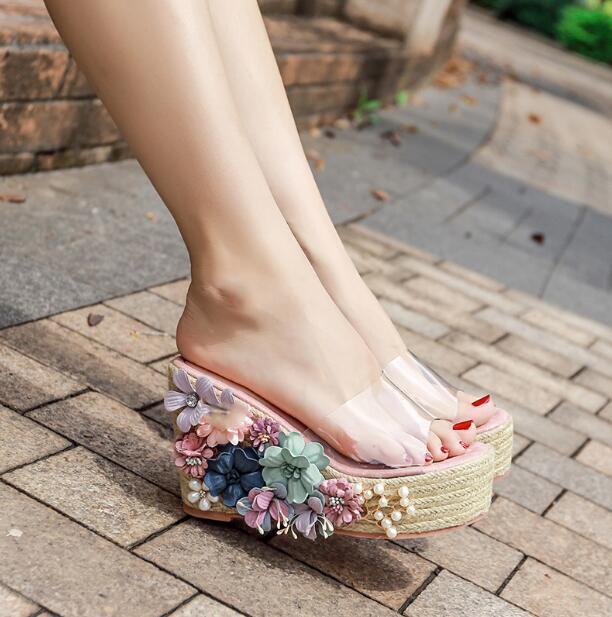 Women Clear Open Toe Floral Wedge High Heel Slipper Platform Casual Sandal Shoes