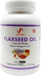 Umanac-Flaxseed-Oil-Diet-Supplement-1000mg-Omega-3-6-9-fatty-acid-60-Softgel-Cap