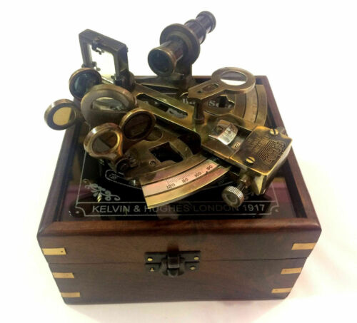 Kelvin n Hughes Nautical Sextant Antique German Patters Sextant with Wooden Box