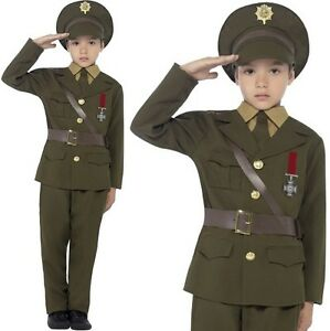 Childrens-Army-Officer-Costume-Boys-Soldier-Fancy-Dress-Uniform-New-by-Smiffys