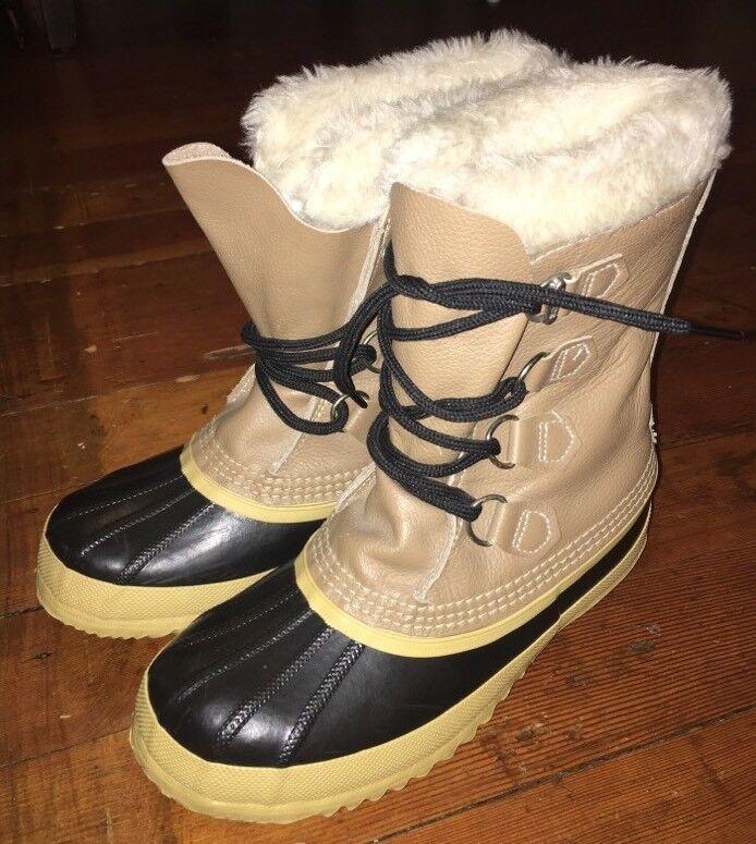 damen SOREL WINTER SNOW Stiefel Größe 7 Leather Upper Rubber Lower