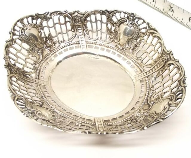 Antique German 835 Silver Bowl Dish Bread Reticulated Pierced Repousse Ornate