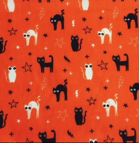 Polycotton Fabric ORANGE Craft HALLOWEEN WITCH CAT Metre Material Special Offer