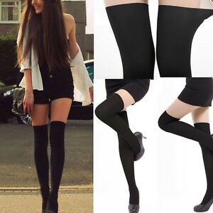 Women-Gilrls-Black-Tinted-Sheer-Over-Knee-False-High-Stockings-Pantyhose-2017