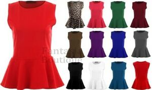 Donna-Girocollo-senza-Maniche-Frill-Turno-Peplo-Giubbotto-Semplice-T-Shirt-Top