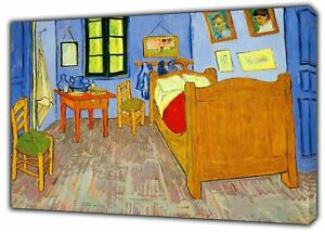 THE BEDROOM OIL PAINT BY VAN GOGH REPRINT ON FRAMED CANVAS WALL ART ...
