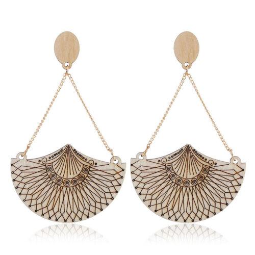 Women Circular African Girl Drop Dangle Earring Wood Jewelry Boho Ear Studs Gift