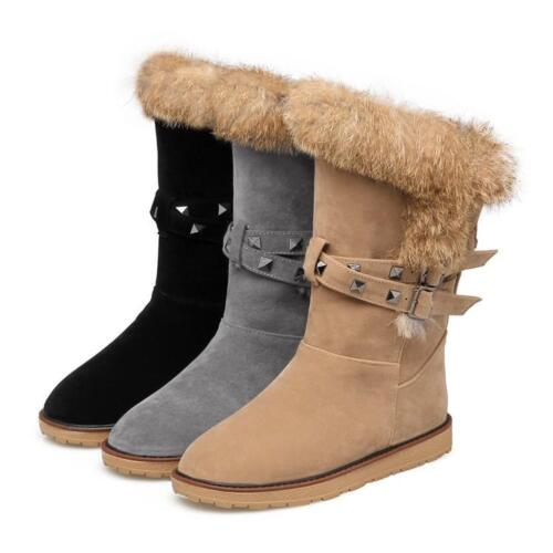 New Women/'s Fur Lined Snow Rivet Pull On flat Buckle Warm mid calf boots Shoes