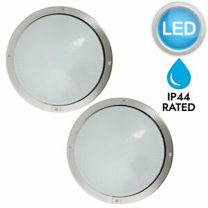 Pair-of-Stainless-Steel-amp-Glass-LED-Outdoor-IP44-Round-Garden-Porch-Wall-Lights
