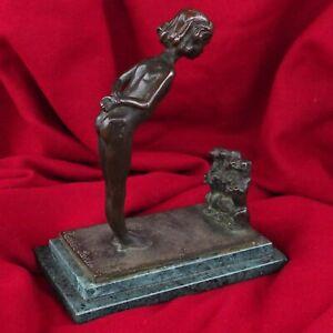 Antique Bronze Dog Nude Girl Lady Pedigree Beagle Pet Statue Sculpture Figure